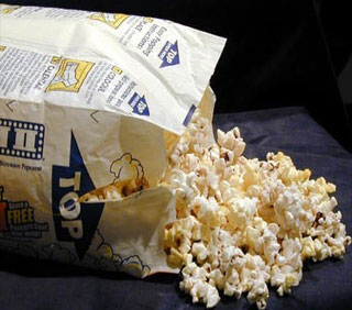 Plastic bags used in microwavable popcorn